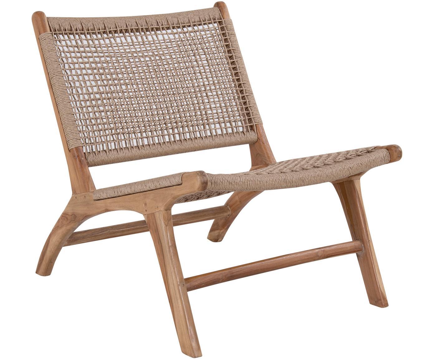 Loungefauteuil Derby, Teakhout, polyrotan, Teakhoutkleurig, beige, B 60 x D 80 cm