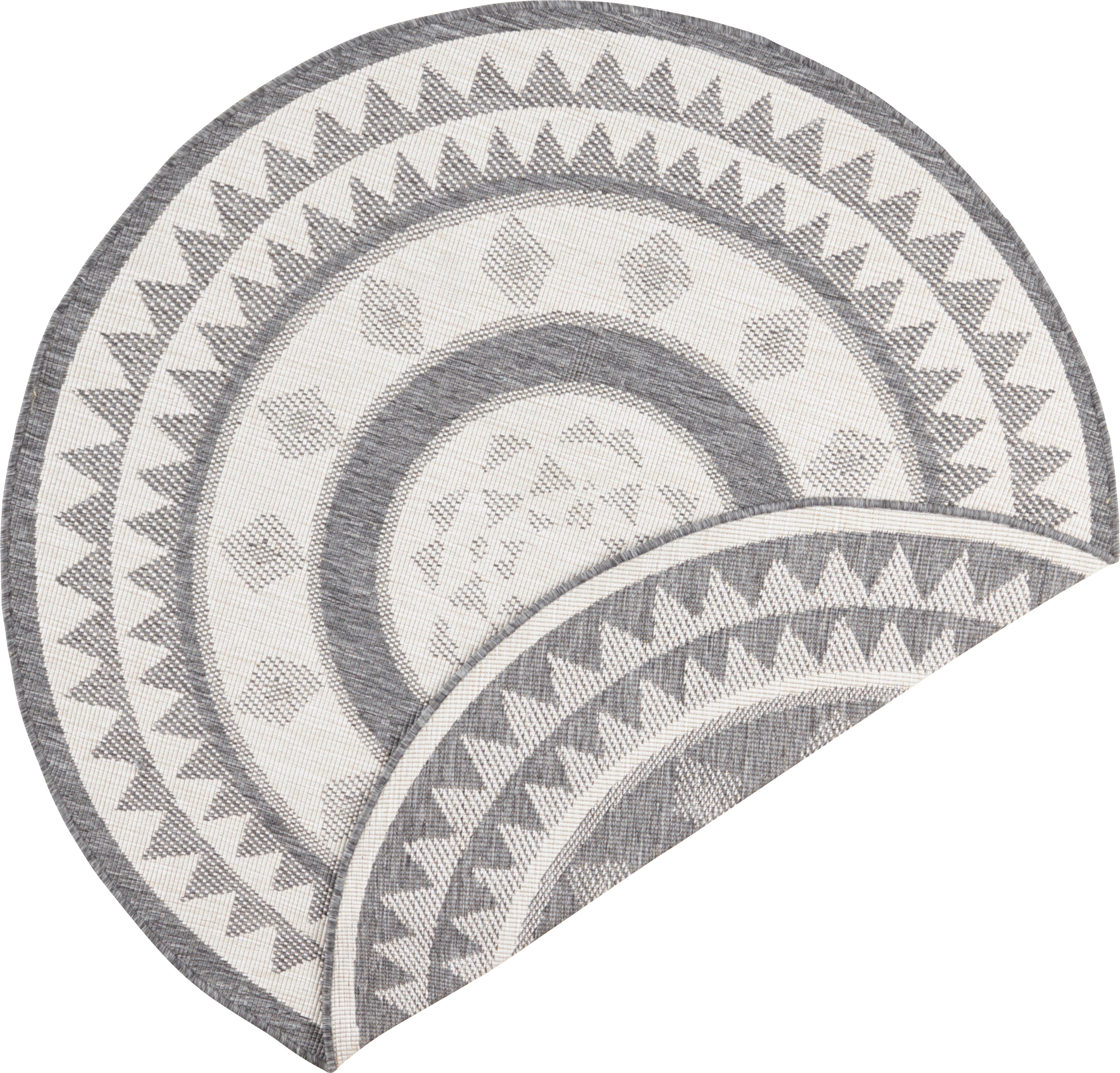 Alfombra redonda reversible de interior/exterior Jamaica, Gris, crema, Ø 140 cm (Tamaño M)