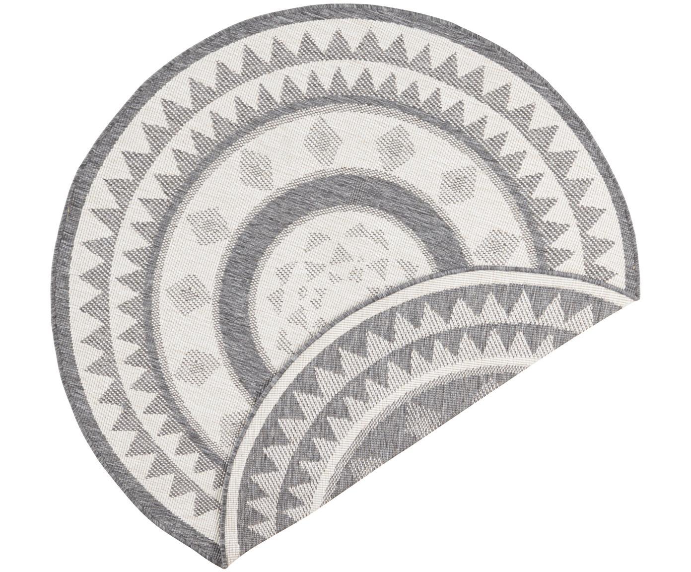 Rond dubbelzijdig in- & outdoor vloerkleed Jamaica, Grijs, crèmekleurig, Ø 140 cm (maat M)