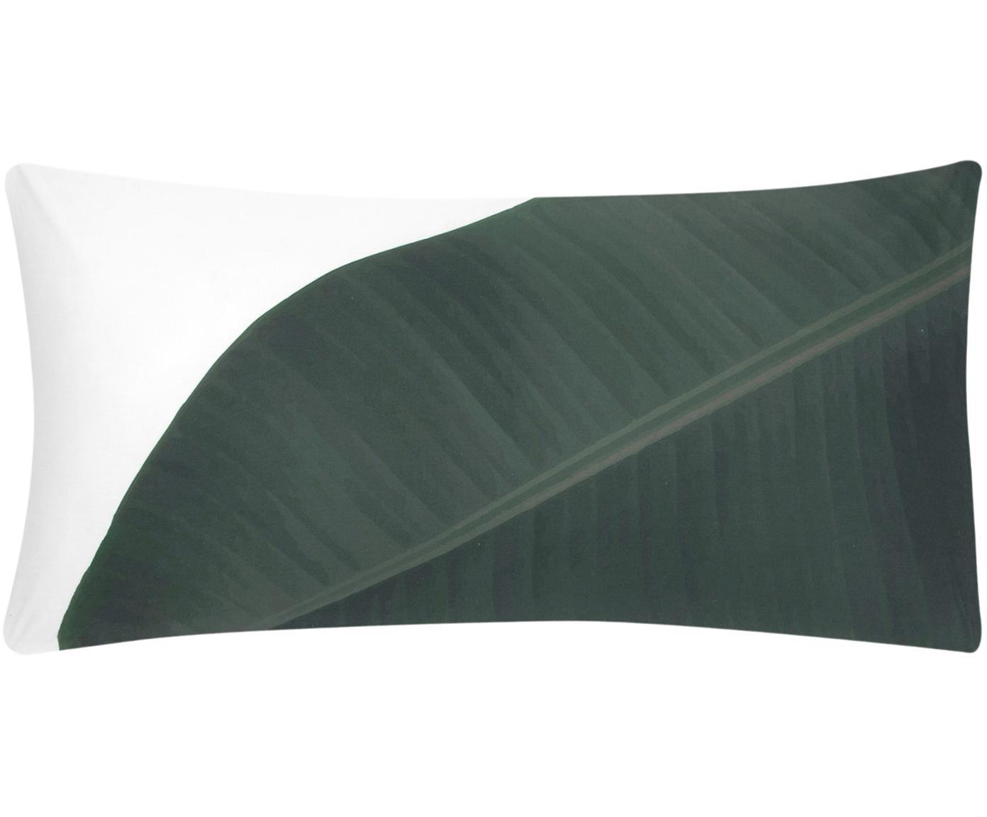 Baumwollperkal-Kissenbezüge Banana mit Blattmotiv, 2 Stück, Webart: Perkal Fadendichte 180 TC, Vorderseite: Grüntöne Rückseite: Weiß, Uni, 40 x 80 cm