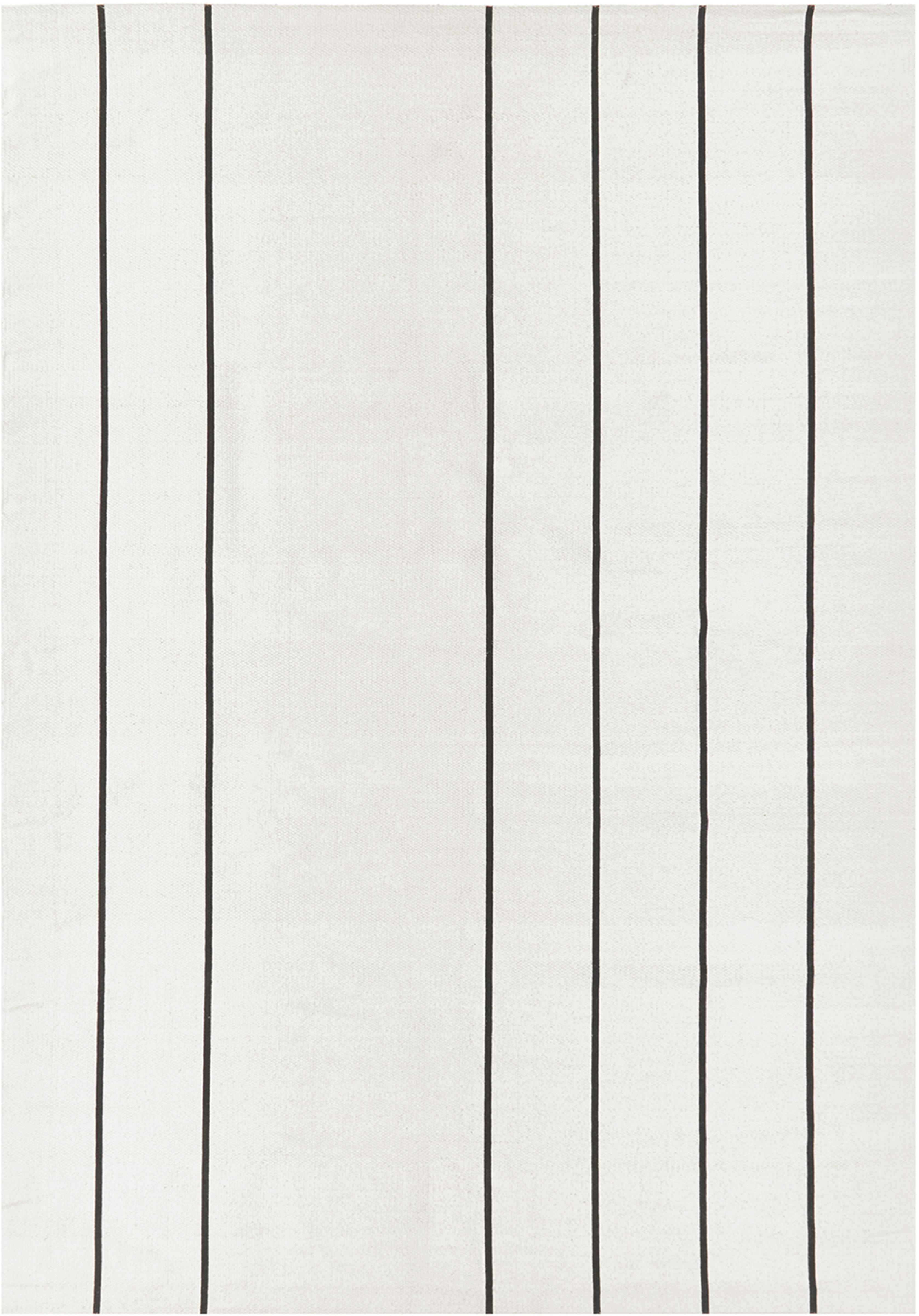 Flachgewebter Baumwollteppich David mit Linien, handgefertigt, 100% Baumwolle, Cremeweiß, Schwarz, B 160 x L 230 cm (Größe M)