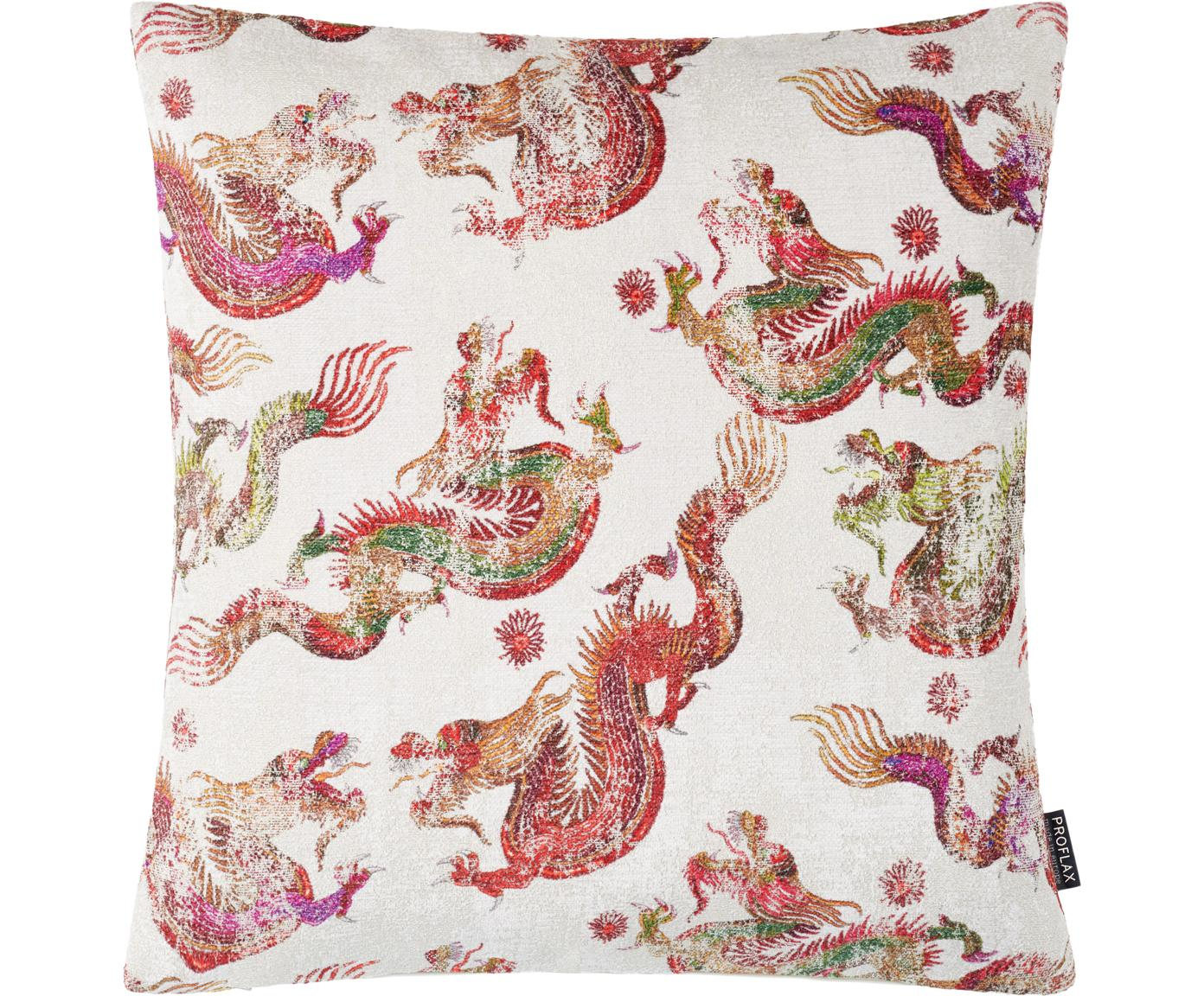 Kissenhülle Dragon mit Drachenmotiv, 57% Viskose, 43% Polyester, Weiß, Mehrfarbig, 45 x 45 cm
