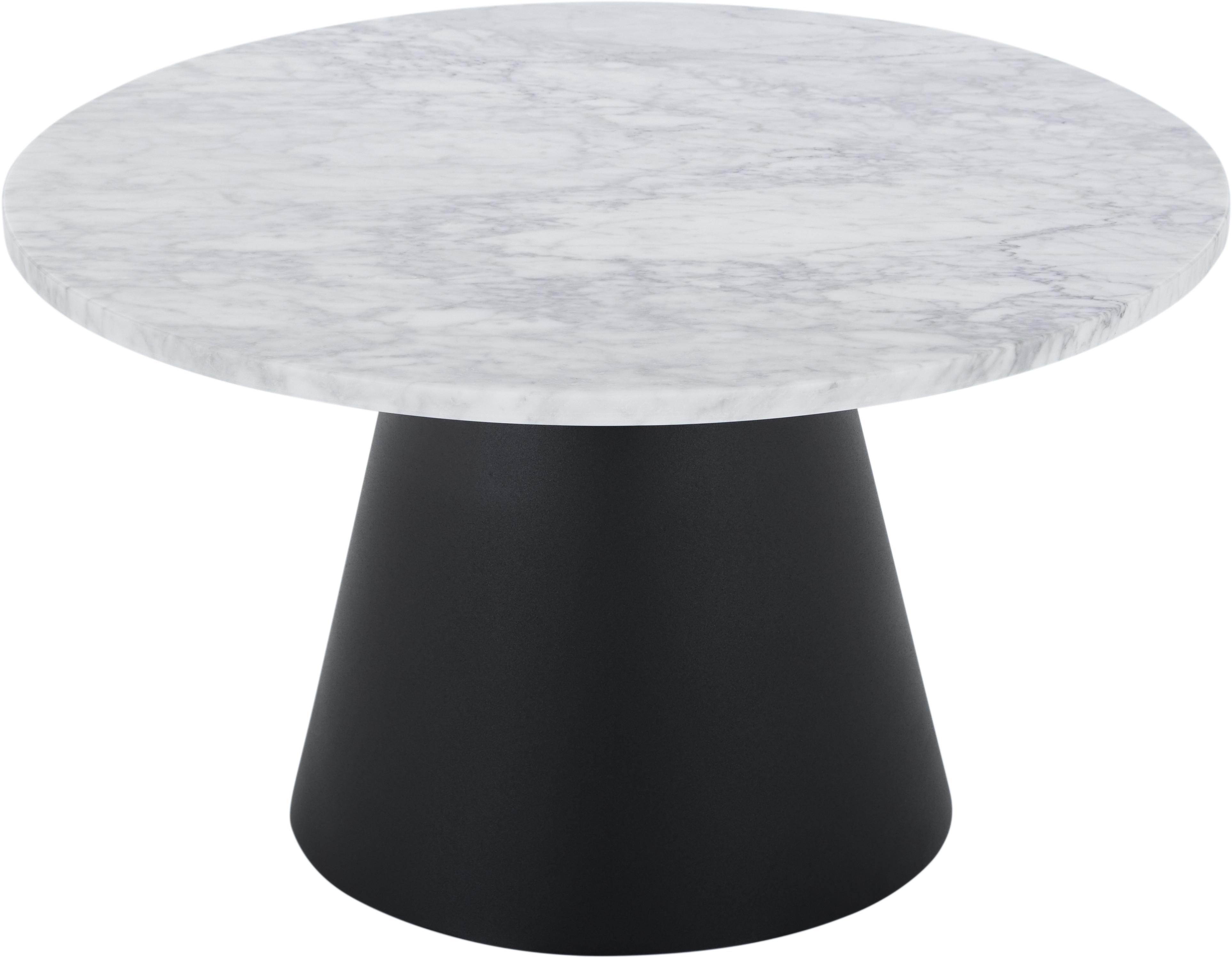Mesa de centro redonda de mármol Liam, Tablero: mármol de Carraca, Estructura: metal recubierto, Mármol gris y blanco, negro, ∅ 70 x Al 40 cm