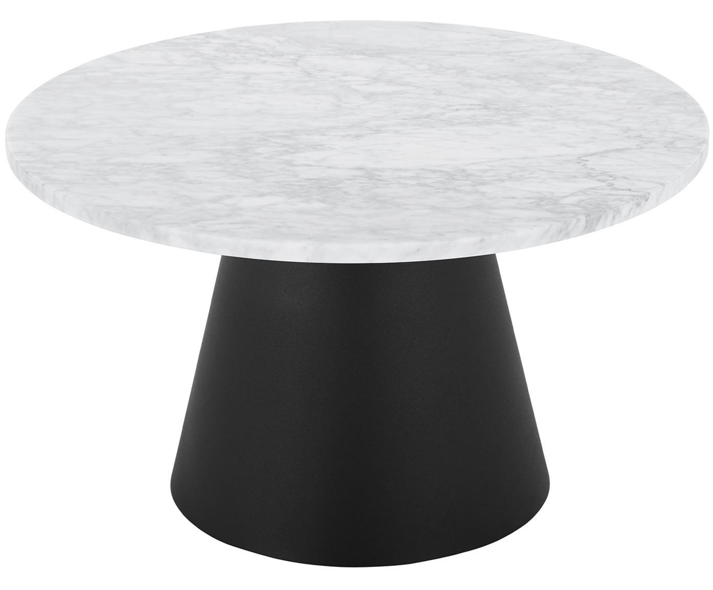 Ronde marmeren salontafel Mary, Tafelblad: Carrara marmer, Frame: gecoat metaal, Wit-grijs marmer, zwart, Ø 70 x H 40 cm