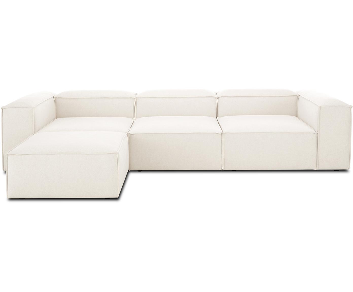 Sofa modułowa Lennon, Tapicerka: 60% poliester, 40% wiskoz, Stelaż: masywne drewno sosnowe, p, Nogi: tworzywo sztuczne, Beżowy, S 333 x G 214 cm