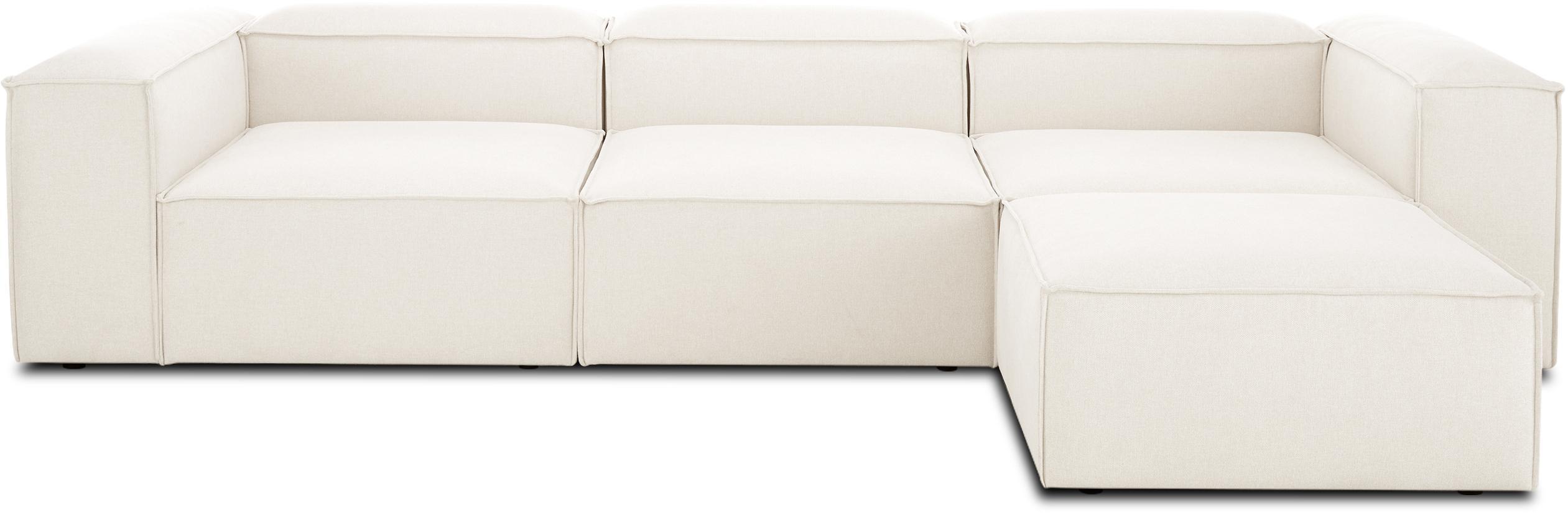 Sofá modular Lennon, Funda: 60%poliéster, 40%viscos, Estructura: madera de pino macizo, ag, Patas: plástico, Beige, An 333 x F 214 cm