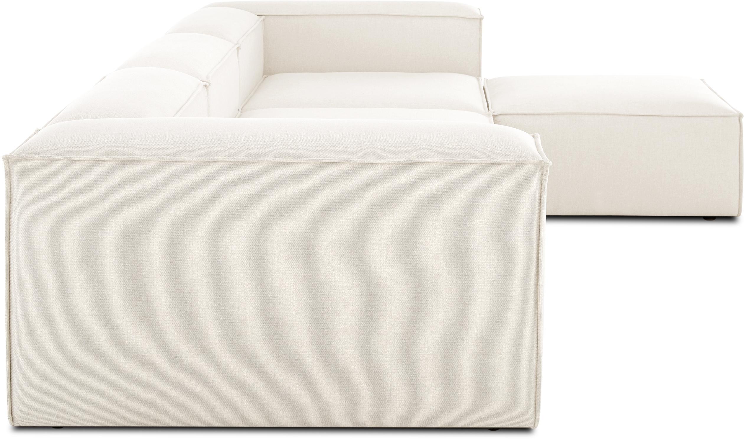 Modulaire hoekbank Lennon, Bekleding: polyester, Frame: massief grenenhout, multi, Poten: kunststof, Beige, B 333 x D 214 cm