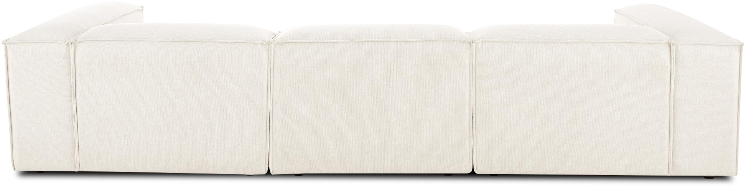 Modulares Ecksofa Lennon, Bezug: Polyester 35.000 Scheuert, Gestell: Massives Kiefernholz, Spe, Füße: Kunststoff, Webstoff Beige, B 326 x T 207 cm