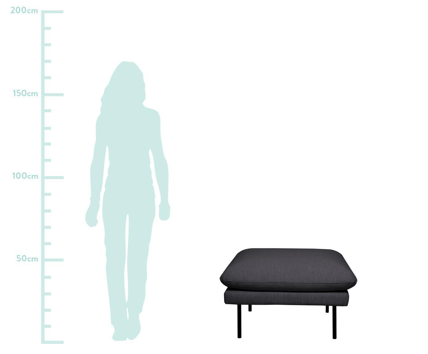 Sofa-Hocker Moby, Bezug: Polyester 60.000 Scheuert, Gestell: Massives Kiefernholz, Füße: Metall, pulverbeschichtet, Webstoff Dunkelgrau, 78 x 48 cm
