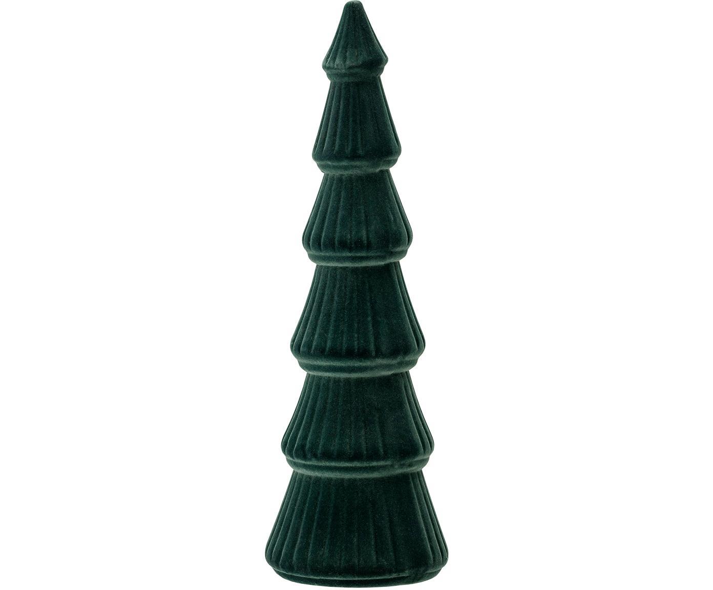Dekoracja z aksamitu Tree, Płyta pilśniowa średniej gęstości (MDF), aksamit poliestrowy, Siedzisko: zielony Nogi: drewno dębowe, Ø 10 x W 34 cm