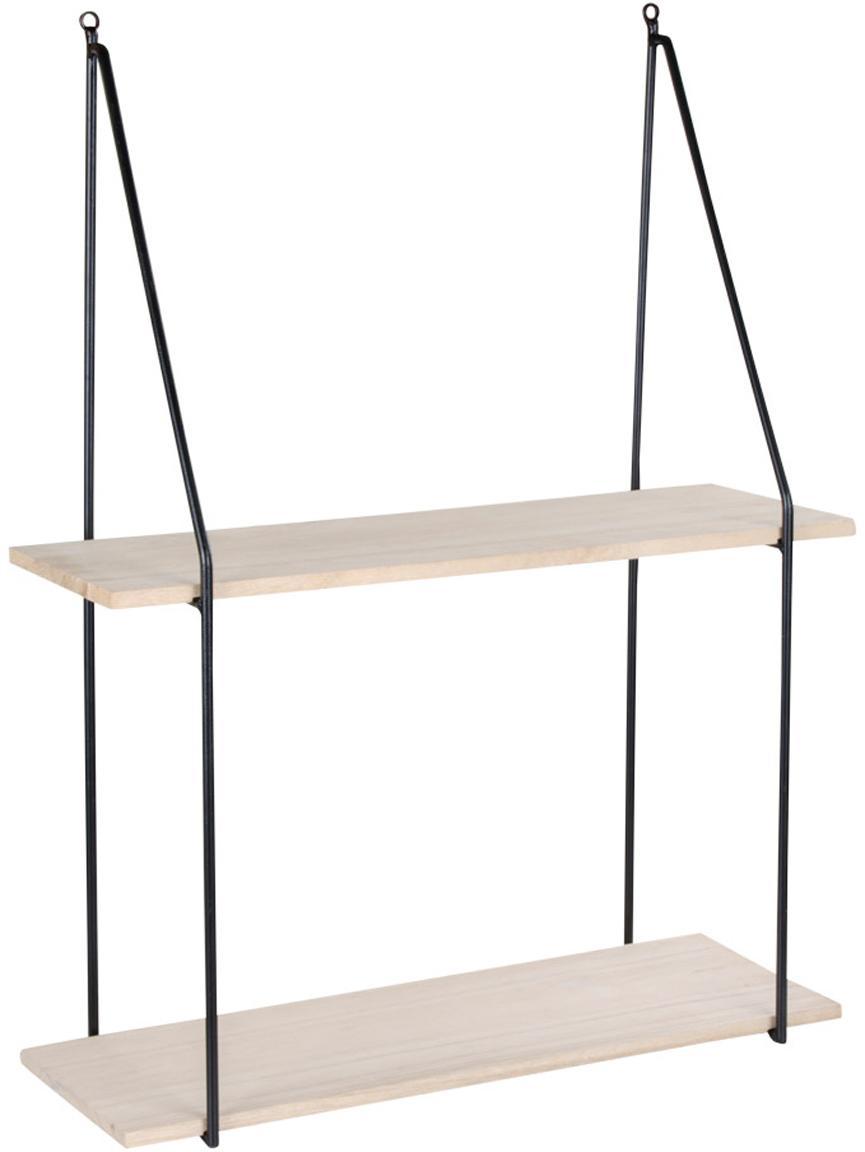 Mensola a muro in metallo e legno Haag, Struttura: acciaio rivestito, Ripiani: legno di paulownia, Nero, marrone, Larg. 55 x Alt. 72 cm