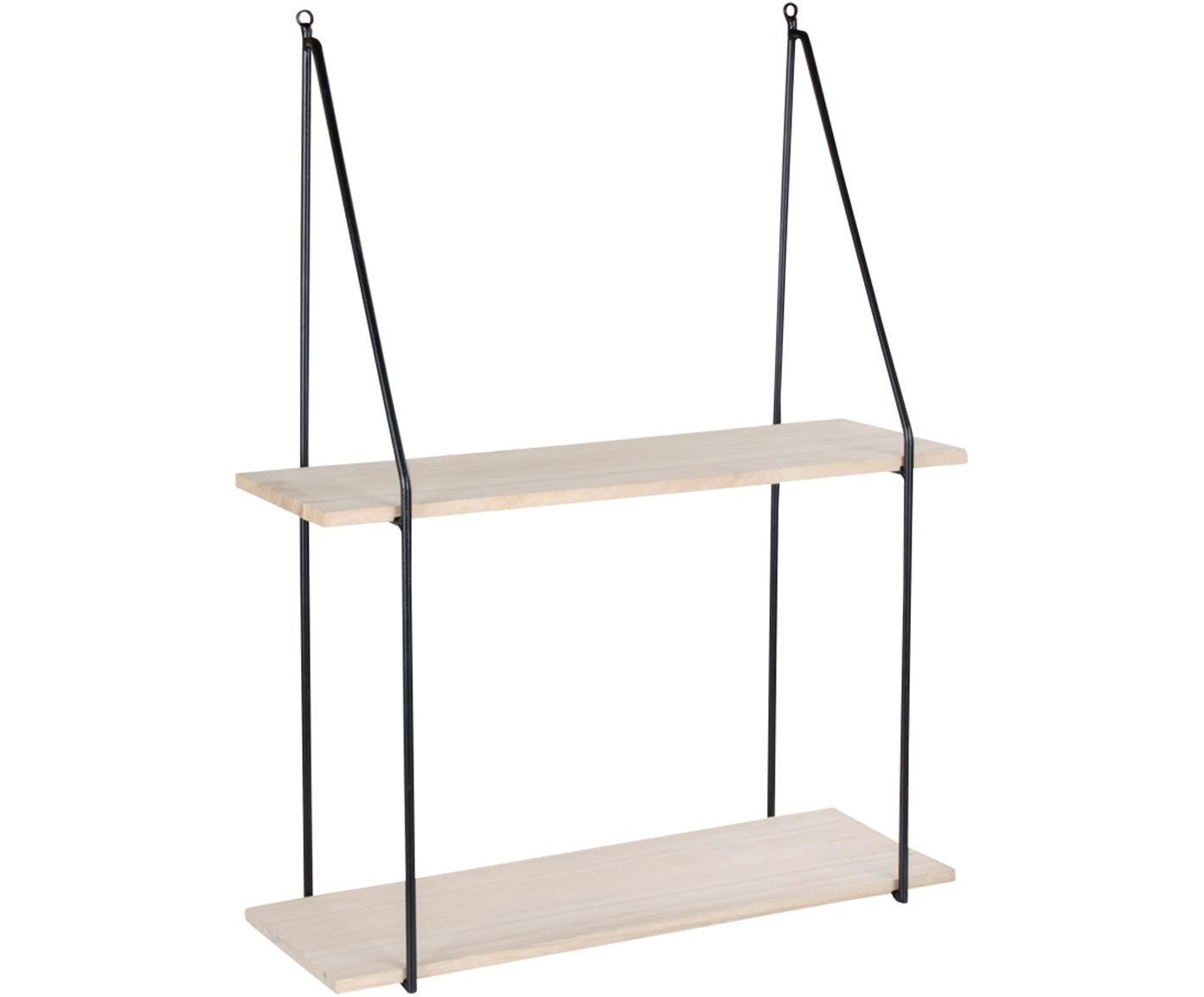 Wandrek Haag van metaal en hout, Gecoat staal, hout, Zwart, houtkleurig, 55 x 72 cm