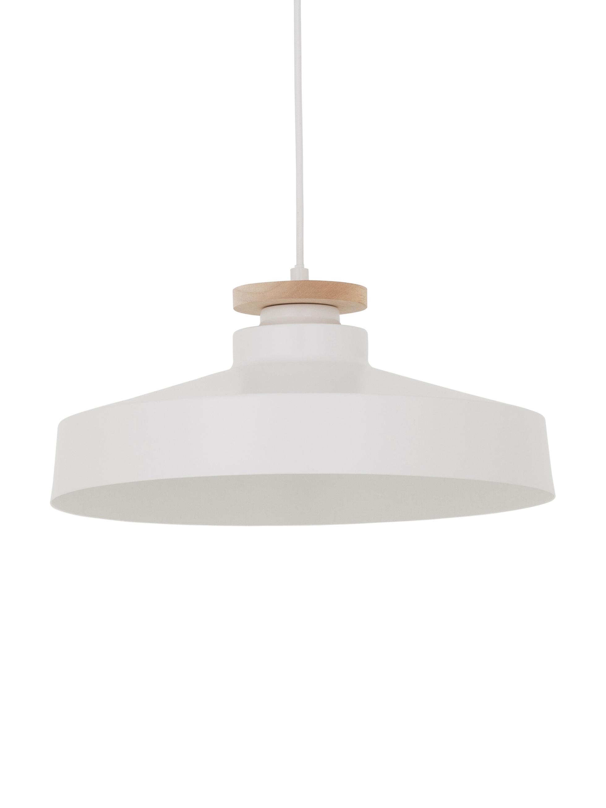 Skandi-Pendelleuchte Malm, Lampenschirm: Metall, Holz, Baldachin: Metall, Weiss, Ø 40 x H 20 cm