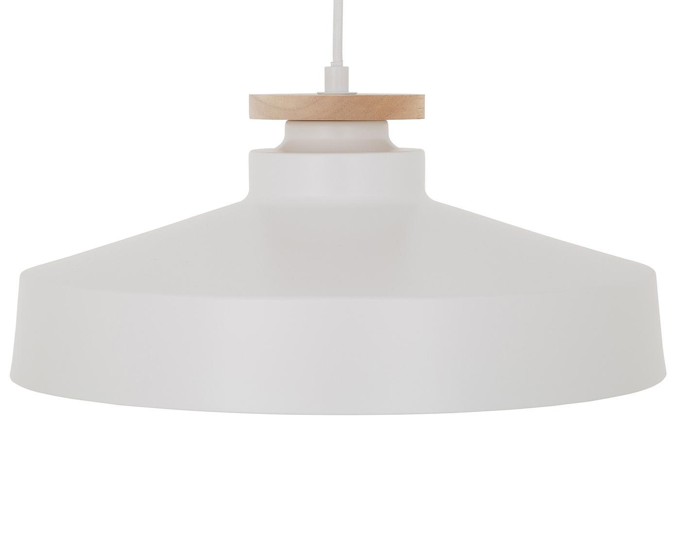 Scandi hanglamp Malm, Lampenkap: metaal, hout, Baldakijn: metaal, Wit, Ø 40 x H 20 cm