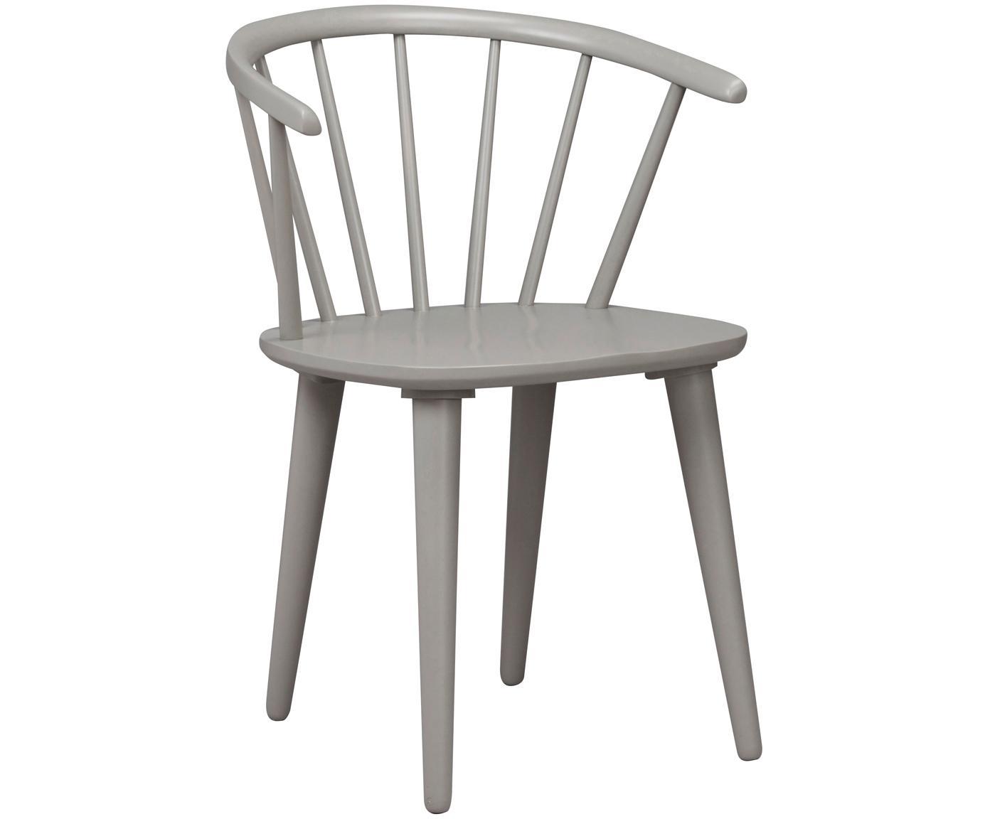 Krzesło z podłokietnikami z drewna  Windsor Carmen, 2 szt., Drewno kauczukowe, lakierowane, Jasny szary, S 54 x W 76 cm