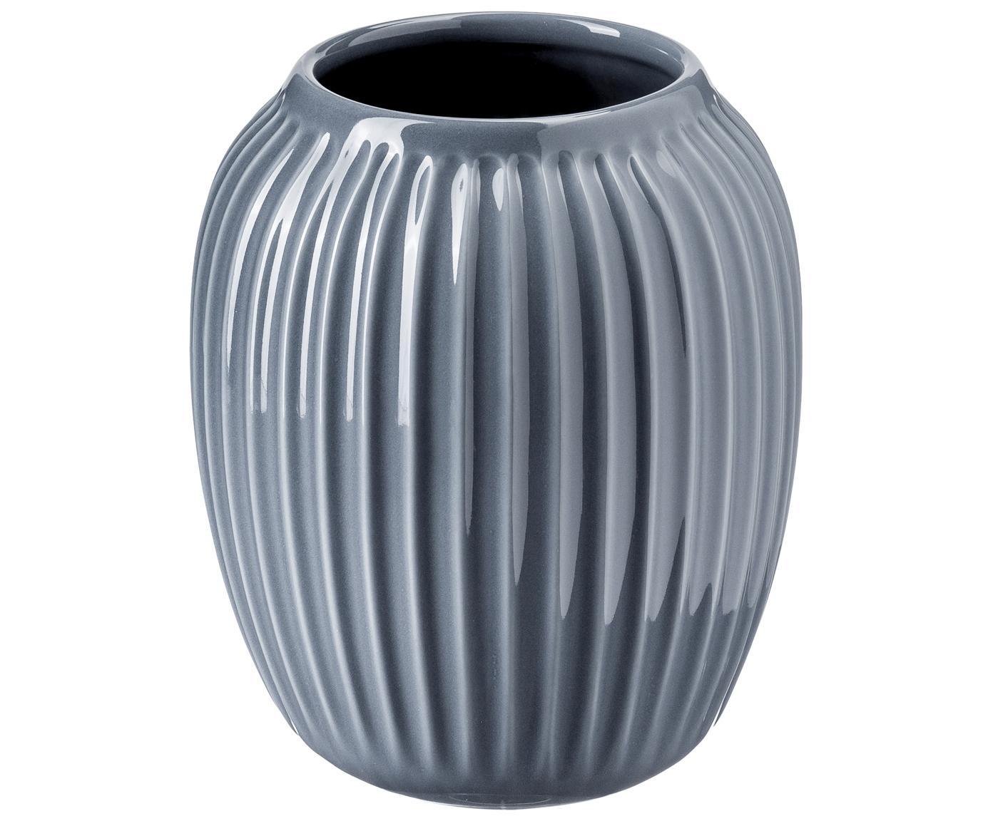 Jarrón artesanal de diseño Hammershøi, Porcelana, Gris antracita, Ø 17 x Al 20 cm