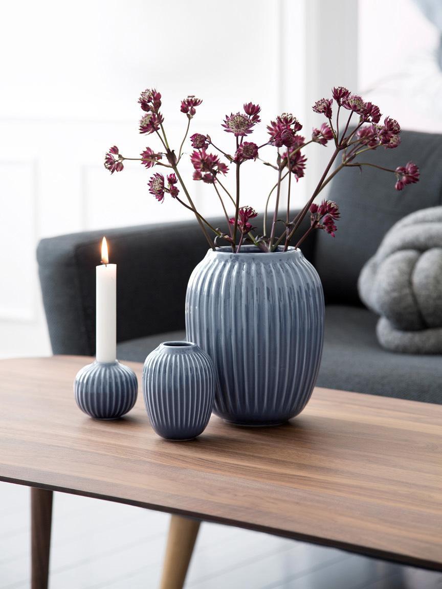 Handgemaakte design vaas Hammershøi, Porselein, Antraciet, Ø 17 x H 20 cm