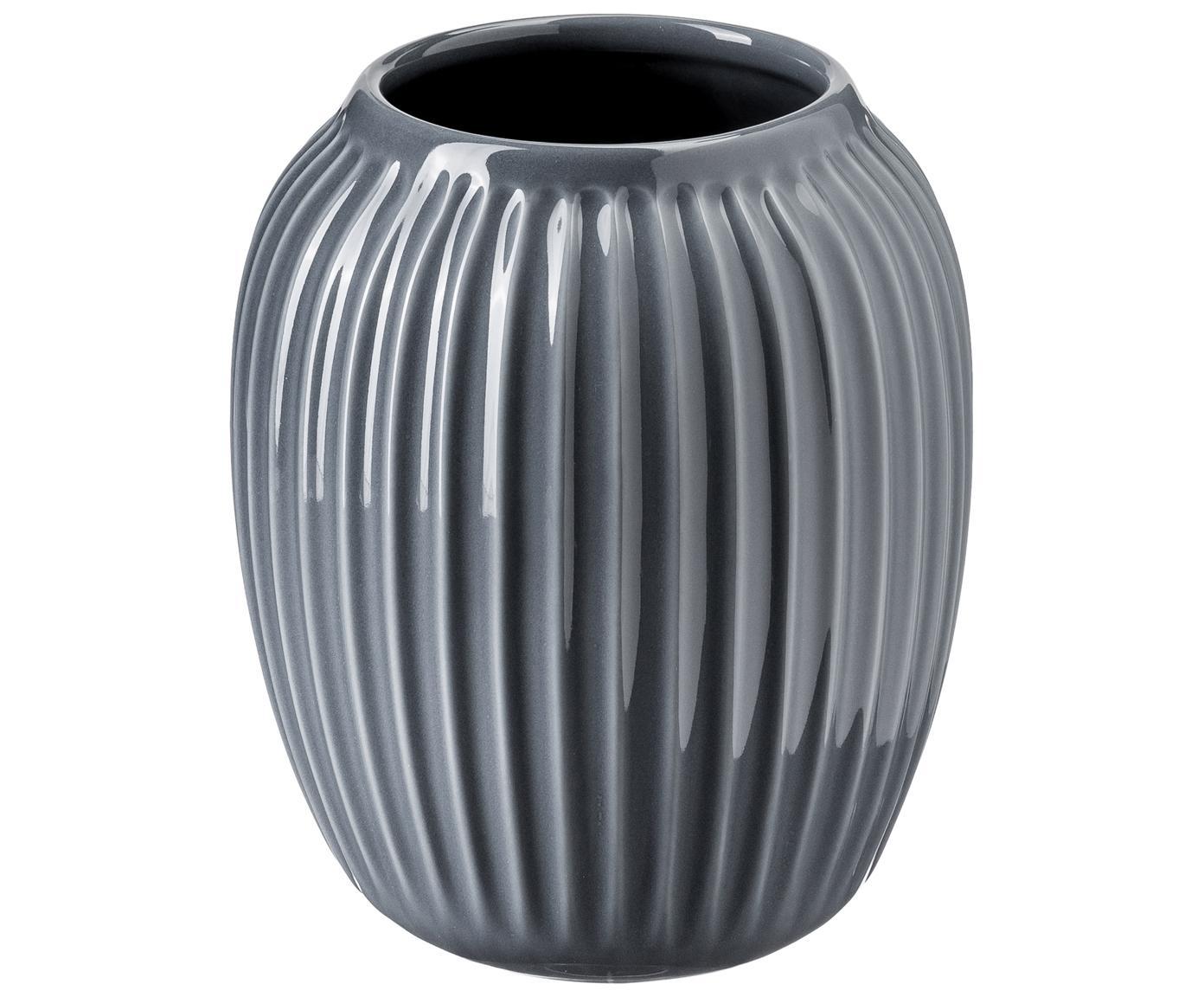 Ręcznie wykonany wazon Hammershøi, Porcelana, Antracytowy, Ø 17 x W 20 cm