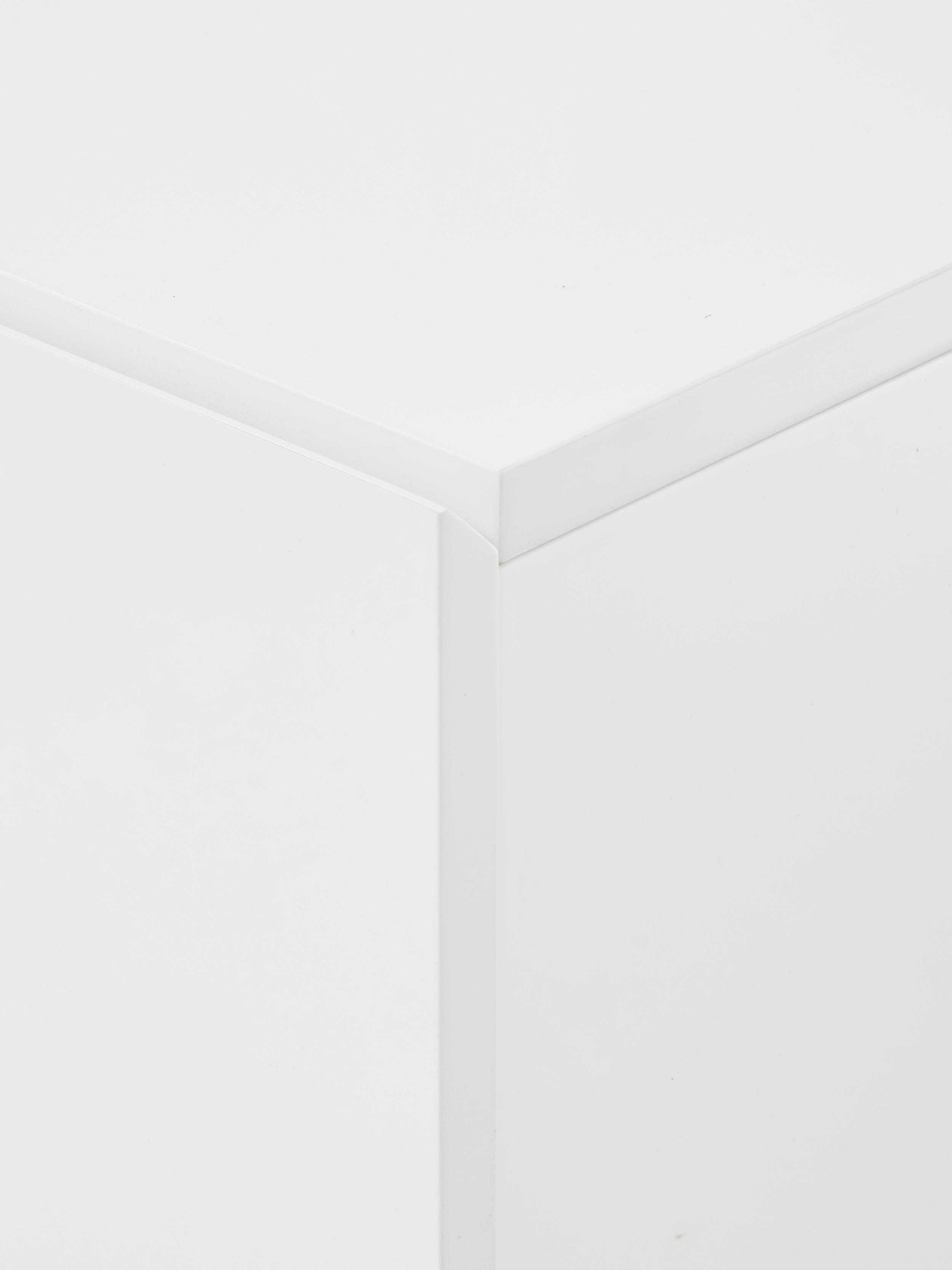 Sideboard High on Wood in Weiß Hochglanz, Korpus: Mitteldichte Holzfaserpla, Füße: Eiche massiv, Weiß, natur, 120 x 72 cm