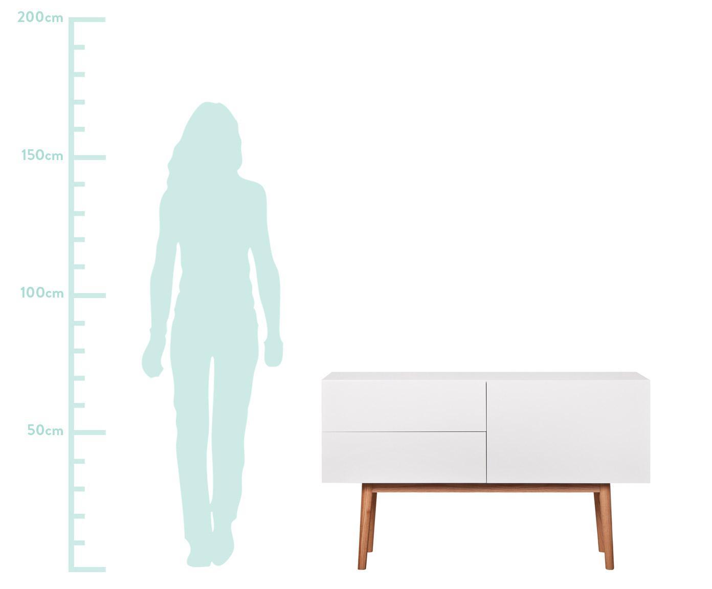 Komoda z wysokim połyskiem High on Wood, Korpus: średniej gęstości płyta p, Nogi: masywne drewno dębowe, Biały, naturalny, S 120 x W 72 cm