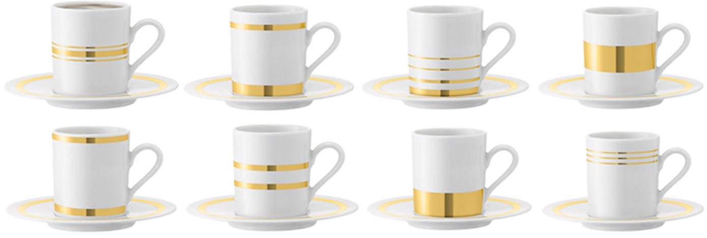 Komplet filiżanek do espresso ze spodkami Deco, 8 elem., Porcelana, Biały, odcienie złotego, Ø 7 x W 7 cm