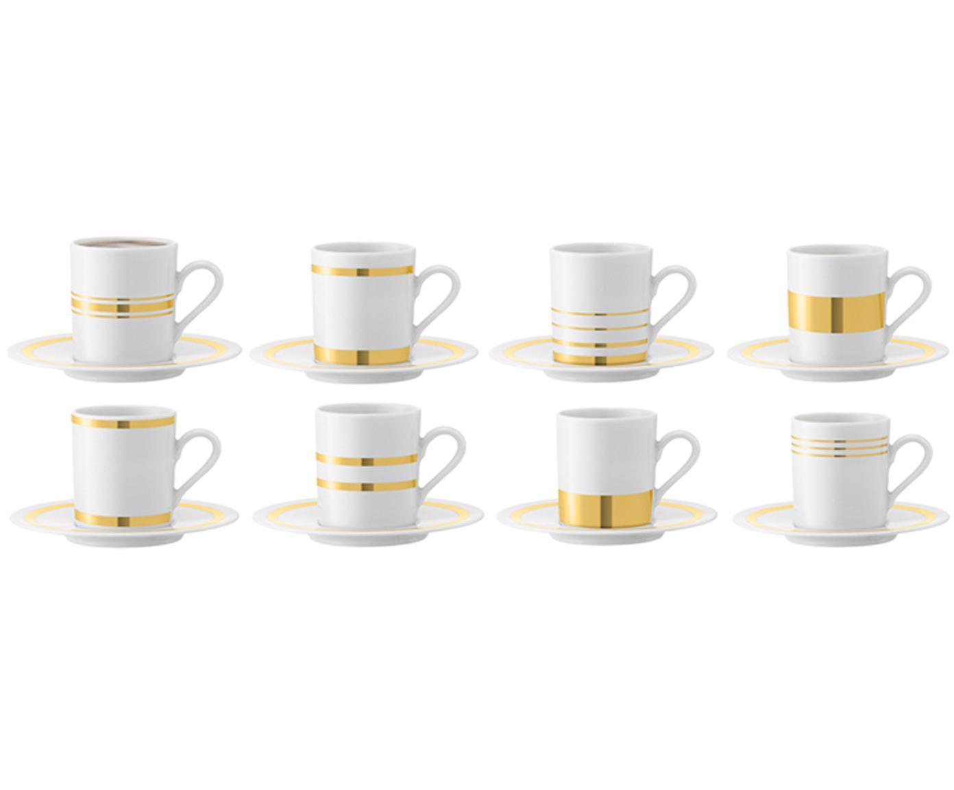 Espressokopjes met schoteltjes Deco met goudkleurig decoratie, 8 stuks, Porselein, Wit, goudkleurig, Ø 7 x H 7 cm