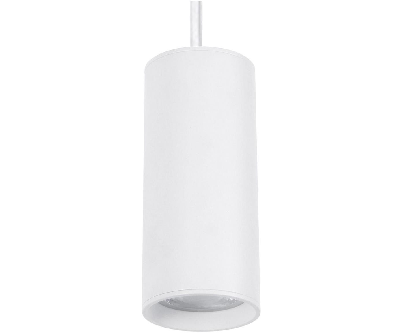 Kleine hanglamp Aila, Lampenkap: gecoat aluminium, Baldakijn: gecoat aluminium, Wit, Ø 6 x H 120 cm