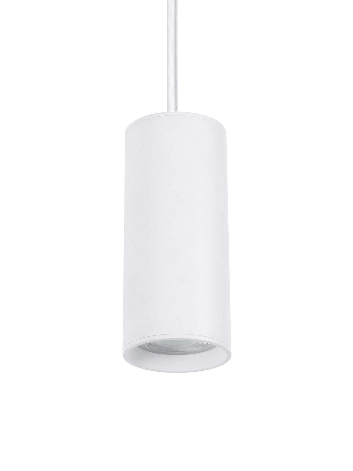 Lampada a sospensione bianca Aila, Paralume: alluminio rivestito, Baldacchino: alluminio rivestito, Bianco, Ø 6 x Alt. 120 cm