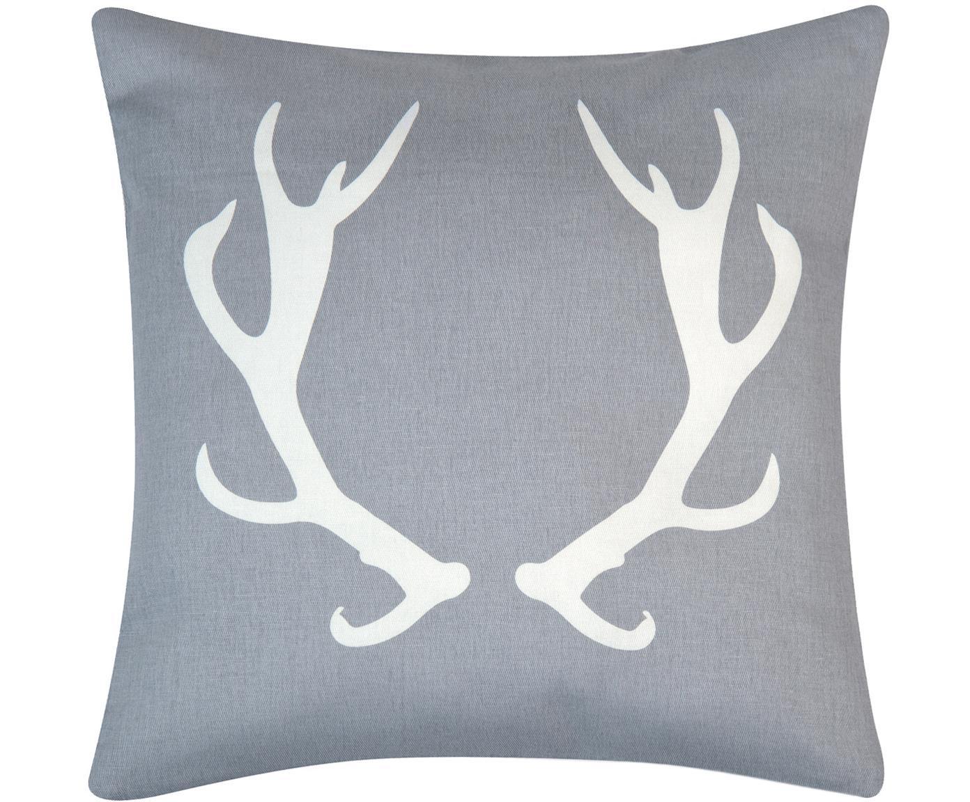 Kissenhülle Horns in Grau/Weiss mit Geweih, Baumwolle, Panamabindung, Grau,Ecru, 40 x 40 cm