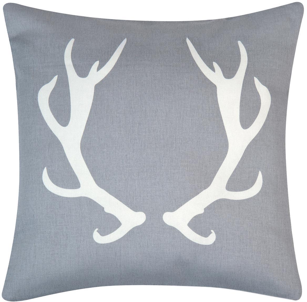 Funda de cojín Horns, 100%algodón, tela Panamá, Gris, crudo, An 40 x L 40 cm