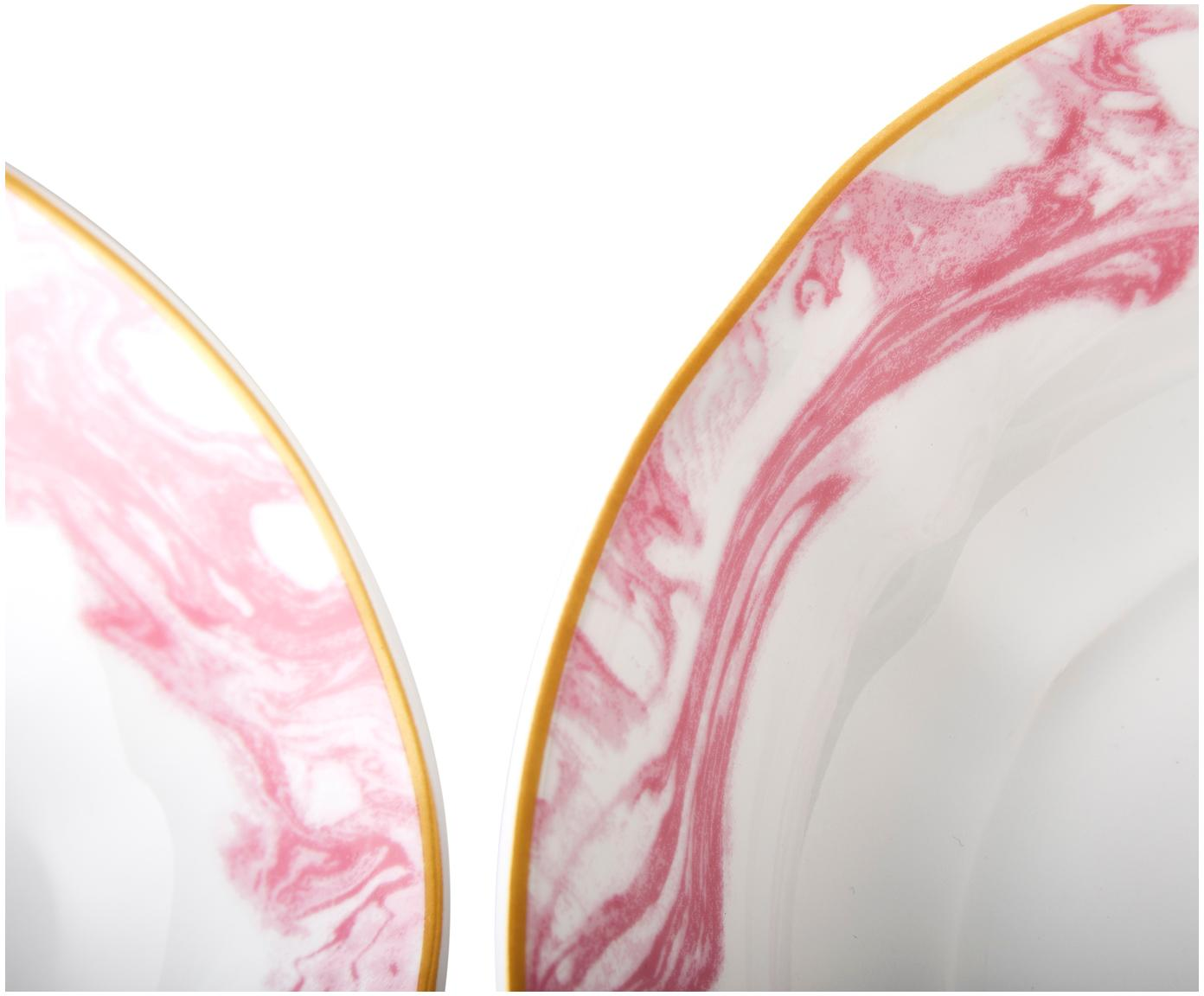 Piatti fondi Bubblegum, 4 pz., Porcellana, Bianco, rosa, dorato, Ø 21 x Alt. 5 cm