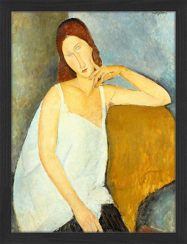 Ingelijste digitale print Jeanne Hebuterne, By Amedeo Modigliani, Afbeelding: digitale print op papier,, Lijst: gelakt hout, Multicolour, 33 x 43 cm