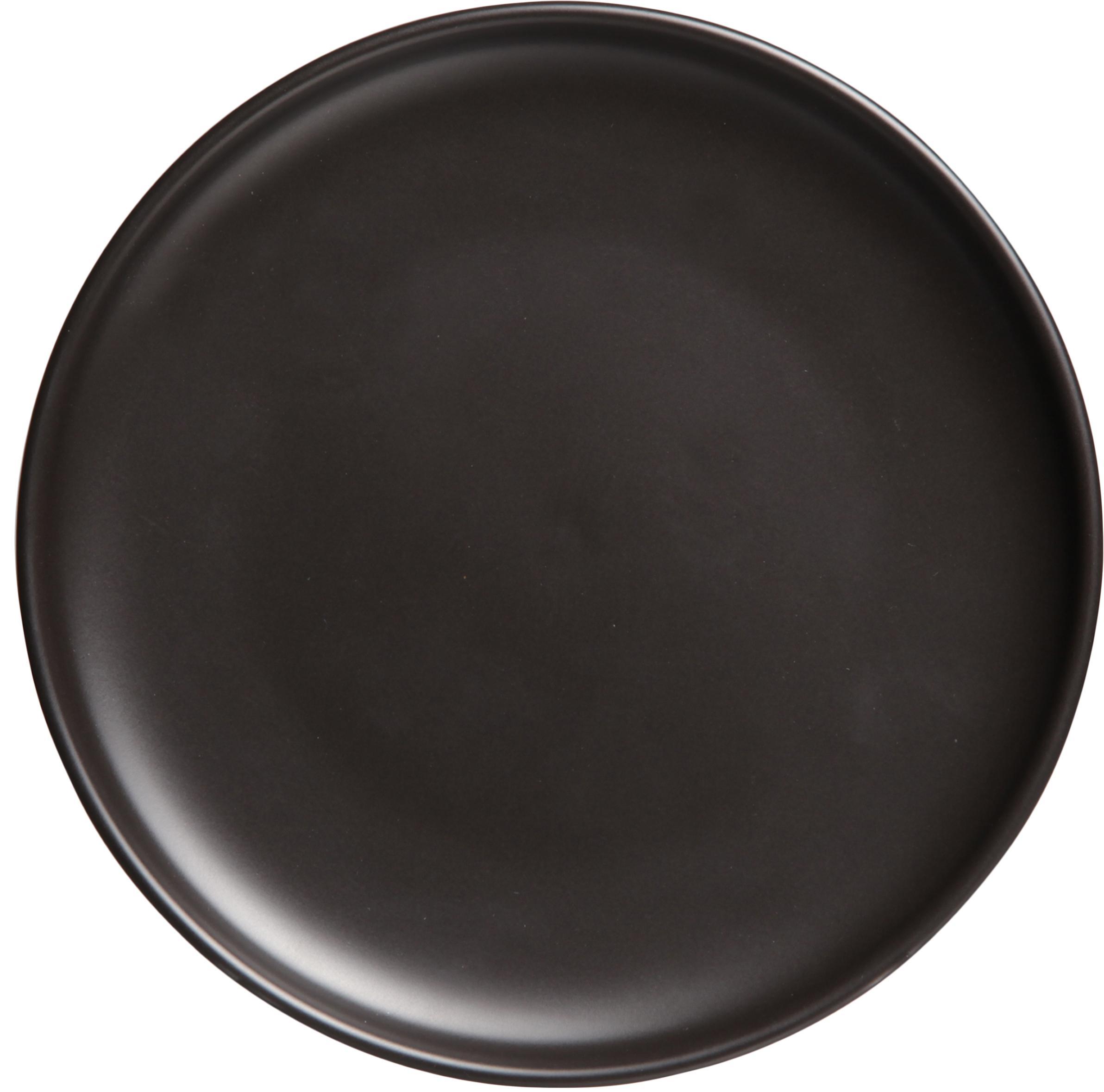 Dinerborden Okinawa, 4 stuks, Keramiek, Mat zwart, Ø 27 cm