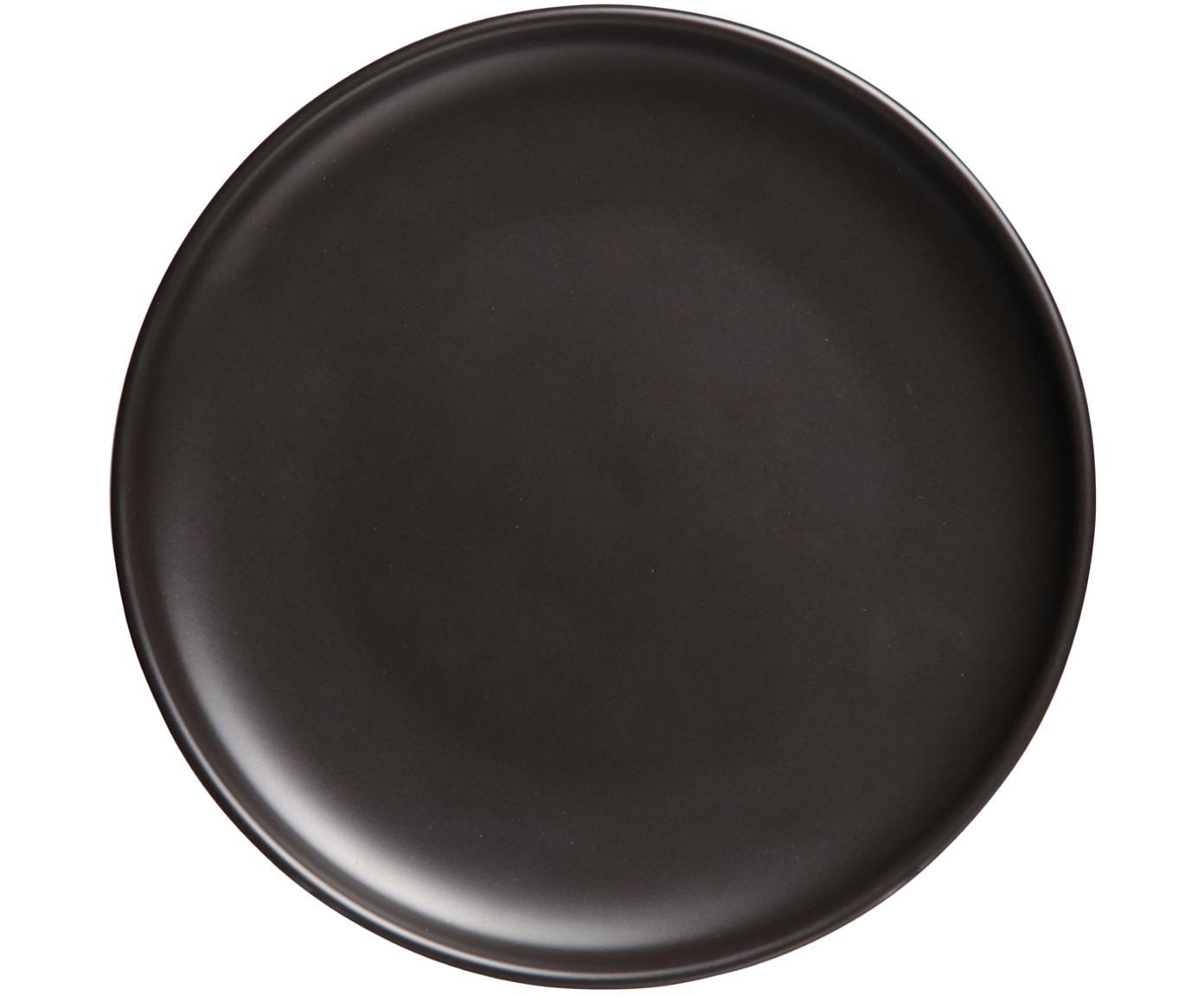 Talerz duży Okinawa, 4 szt., Ceramika, Czarny, matowy, Ø 27 cm