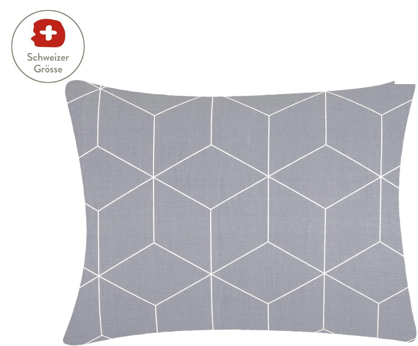 Baumwoll-Kissenbezug Lynn mit grafischem Muster, Webart: Renforcé Fadendichte 144 , Grau, Cremeweiss, 50 x 70 cm