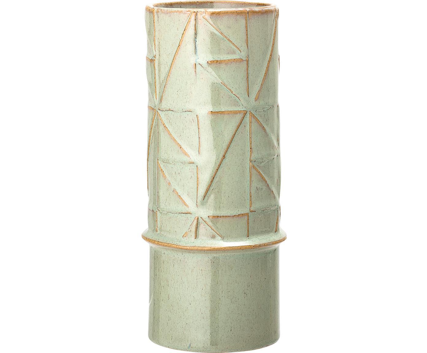 Handgefertigte Vase Mina aus Steingut, Steingut, Grün, Ø 11 x H 25 cm