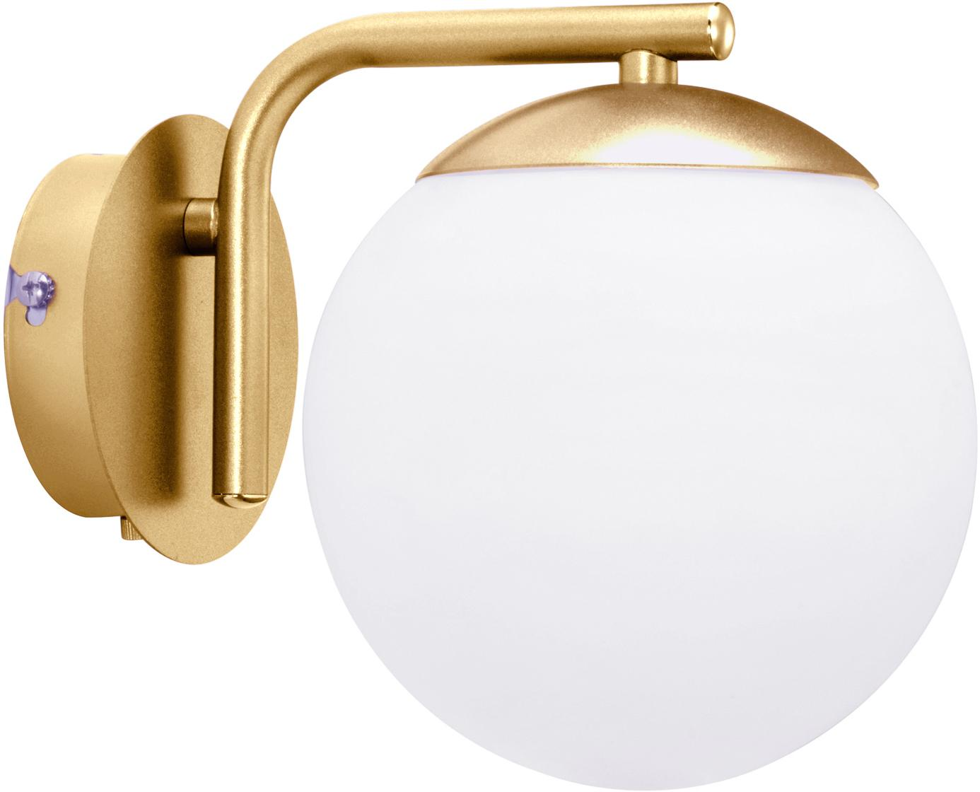 Wandleuchte Grant mit Stecker, Lampenfuß: Messing, Lampenschirm: Opalglas, Messing, Weiß, 15 x 18 cm