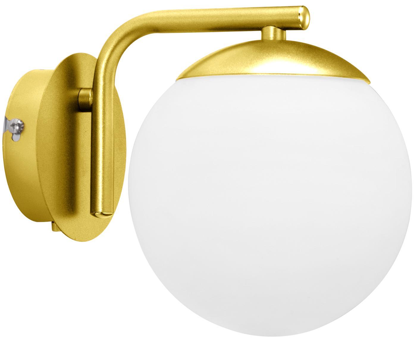 Wandleuchte Grant mit Stecker, Lampenschirm: Opalglas, Messing, Weiss, 15 x 18 cm