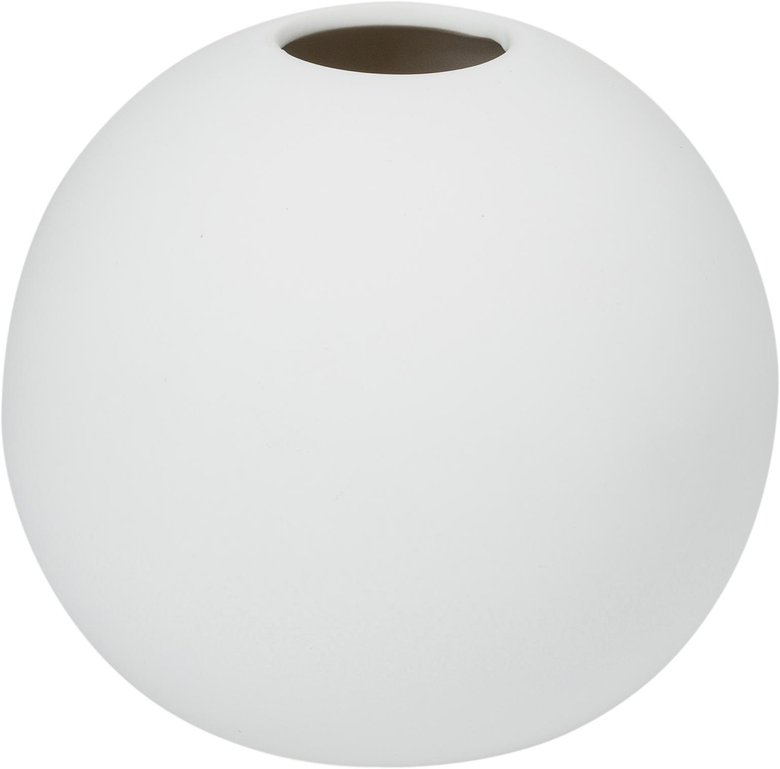 Handgemaakte bolvormige vaas Ball, Keramiek, Wit, Ø 10 x H 10 cm