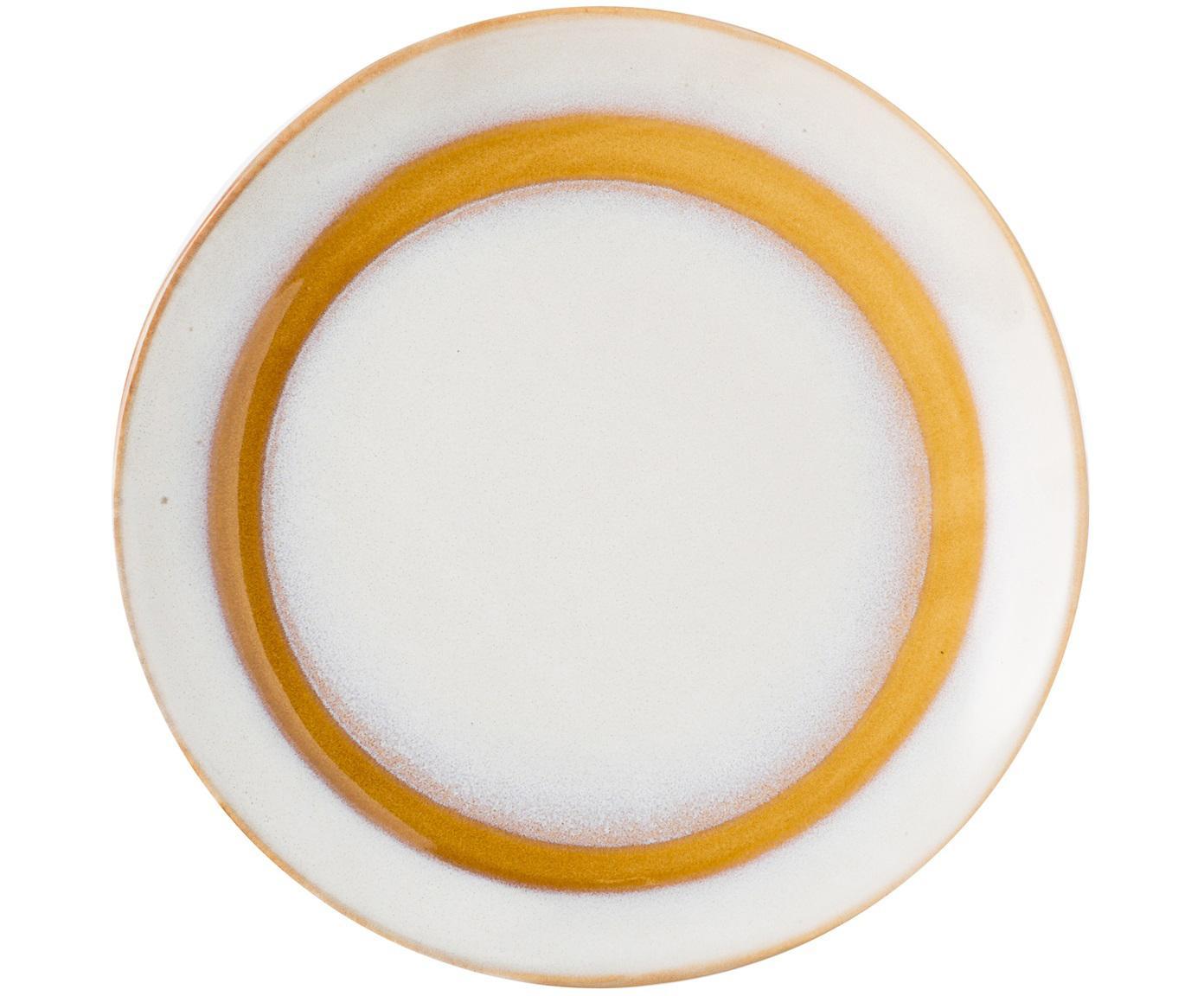 Piatto da dessert fatto a mano 70's, 2 pz, Ceramica, Bianco, arancio, Ø 18 cm