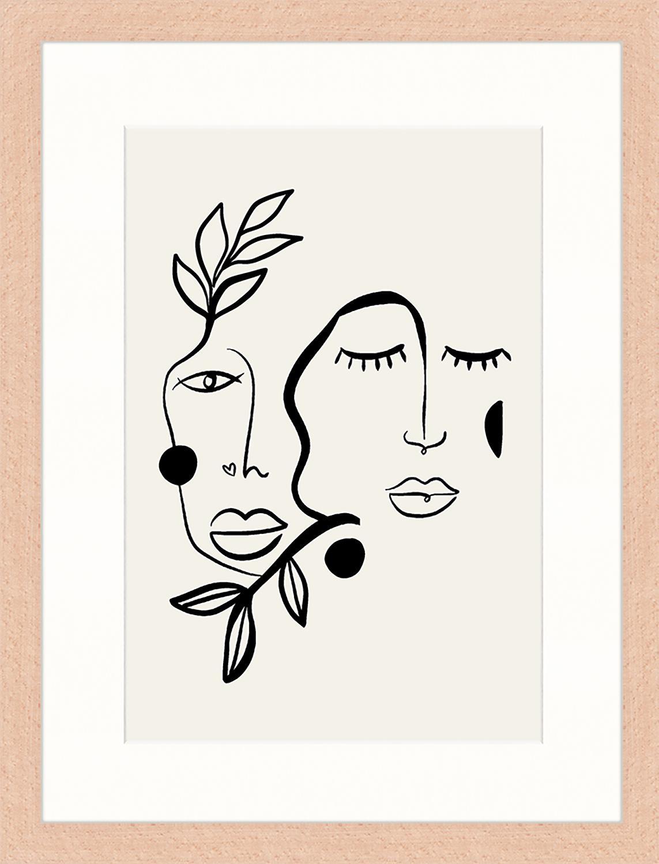 Gerahmter Digitaldruck Love And Flourish, Bild: Digitaldruck auf Papier, , Rahmen: Holz, lackiert, Front: Plexiglas, Hellgrau, Schwarz, 33 x 43 cm
