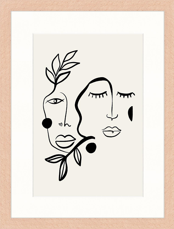 Oprawiony druk cyfrowy Love And Flourish, Jasny szary, czarny, S 33 x W 43 cm