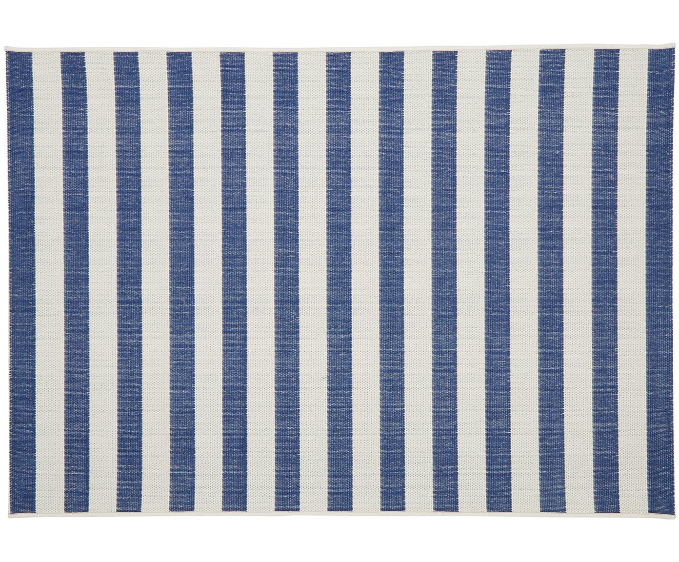 Gestreept in- & outdoor vloerkleed Axa in blauw/wit, Bovenzijde: polypropyleen, Onderzijde: polyester, Crèmewit, blauw, B 160 x L 230 cm (maat M)