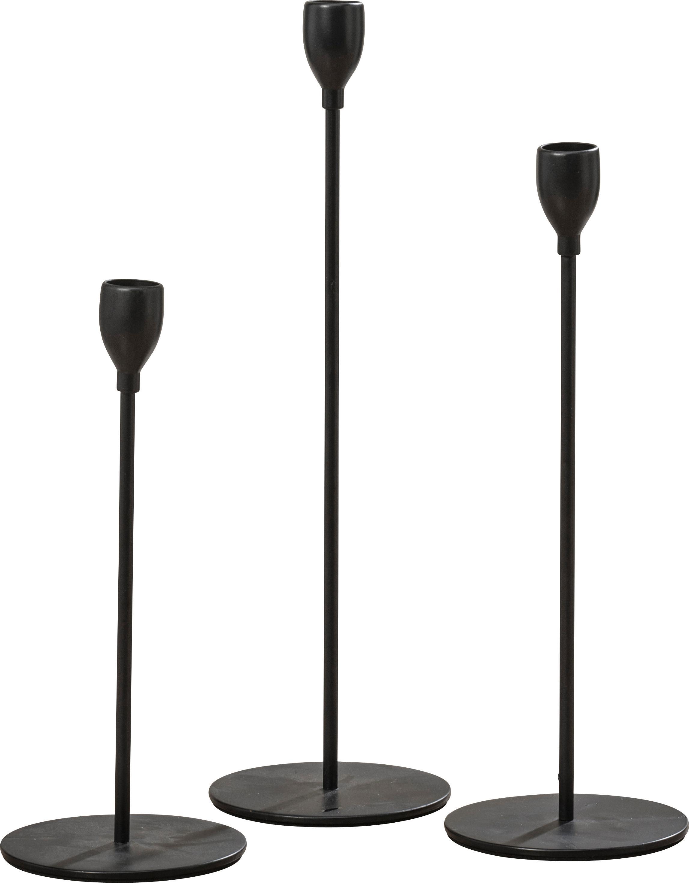 Set de candelabro Malte, 3pzas., Metal recubierto, Negro, Tamaños diferentes