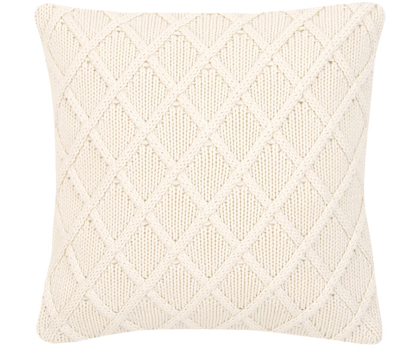 Federa arredo fatta a maglia Elly, 100% cotone, Bianco crema, Larg. 40 x Lung. 40 cm