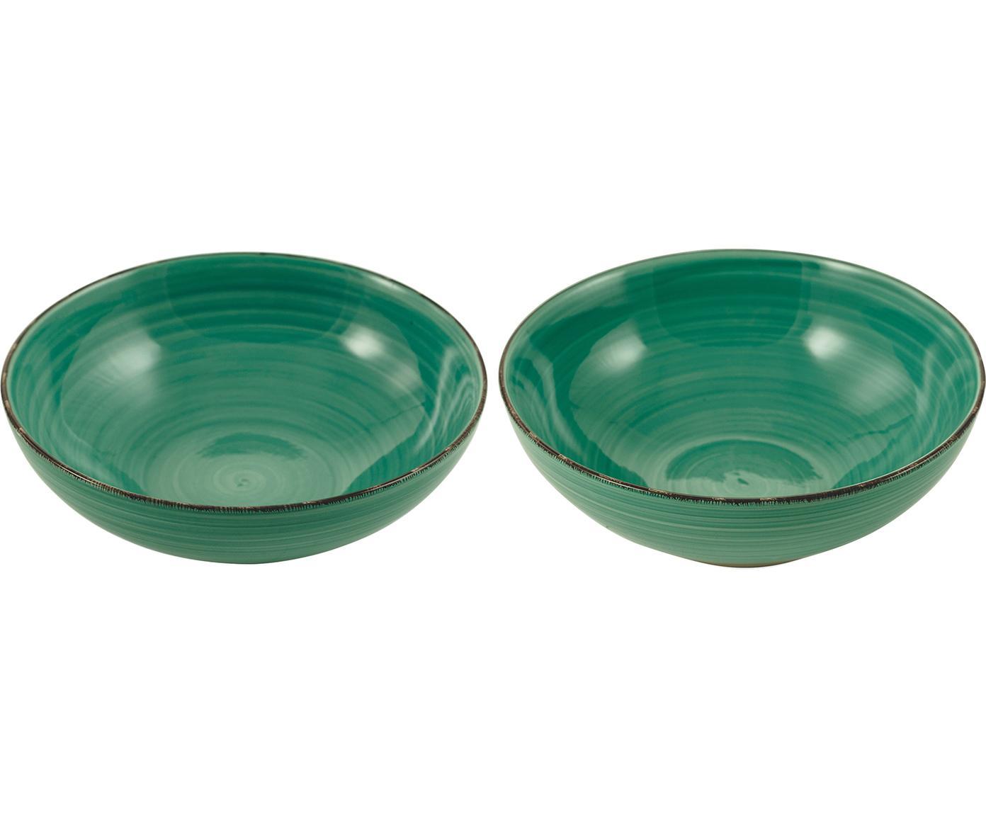 Serveerschaal set Baita, 2-delig, Keramiek, Turquoise, Verschillende formaten