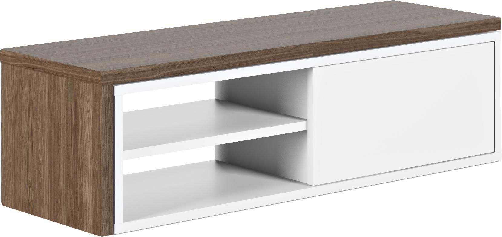 TV-Lowboard Lieke mit Schiebetür, Auflageelement: Mitteldichte Holzfaserpla, Lowboard: Mitteldichte Holzfaserpla, Walnussholz, Weiß, 110 x 32 cm