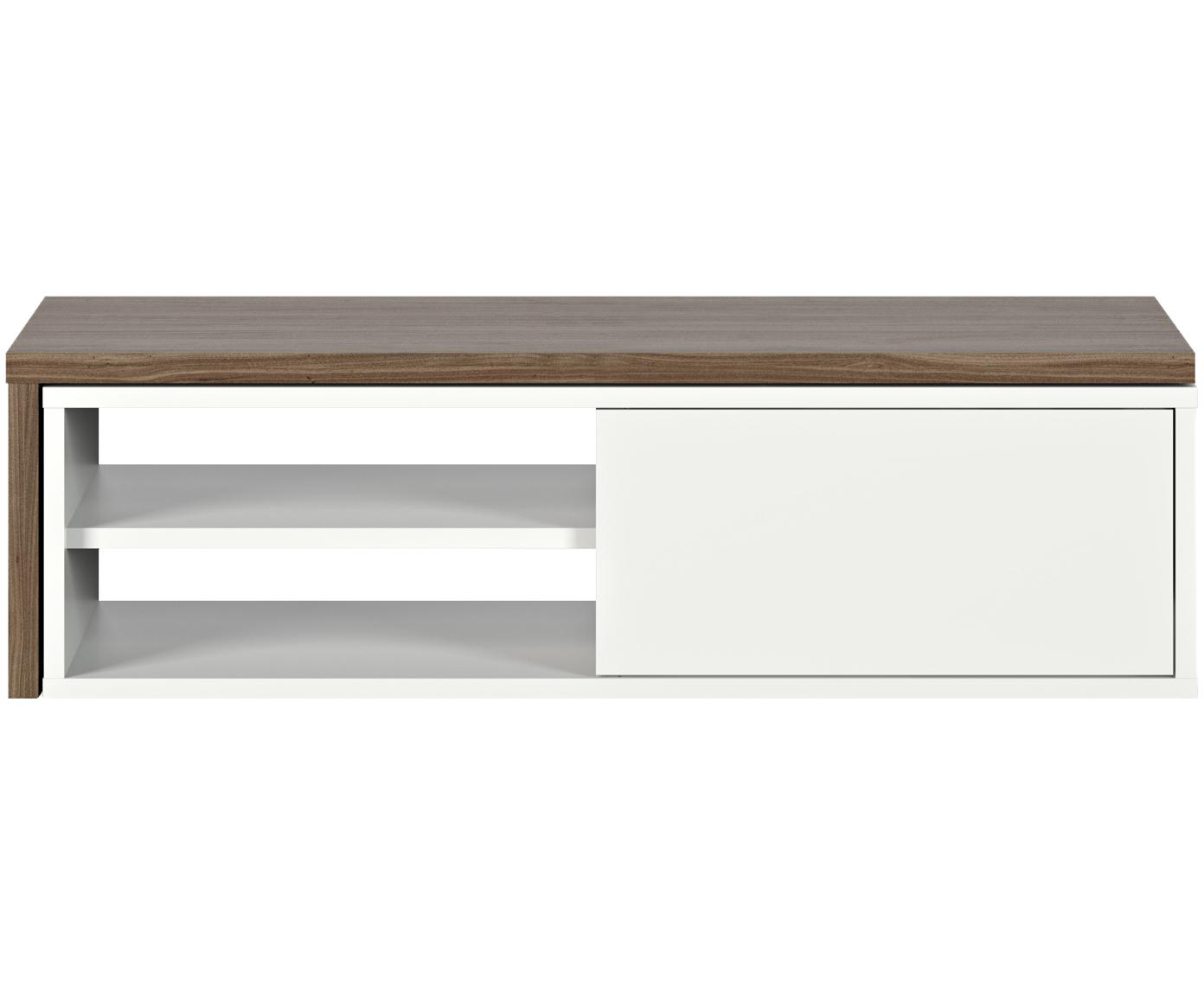 Szafka RTV z przesuwanymi drzwiczkami  Lieke, Drewno orzecha włoskiego, biały, S 110 do 203 x W 32 cm