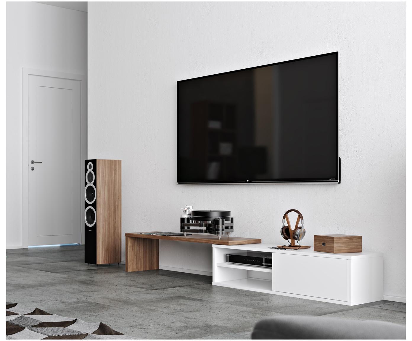 Tv-meubel Lieke met schuifdeur, Walnoothoutkleurig, wit, 110 x 32 cm