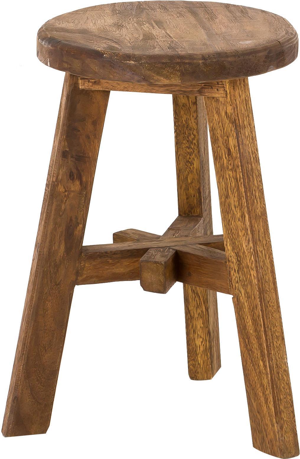 Sgabello in legno di teak Dingklik, Legno di teak verniciato, Legno di teak, marrone scuro tinto, Ø 42 x Alt. 50 cm